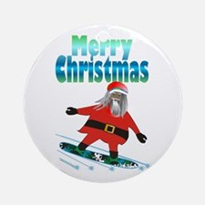 Snowboard Santa Ornament (Round)