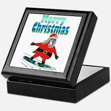 Snowboard Santa Keepsake Box
