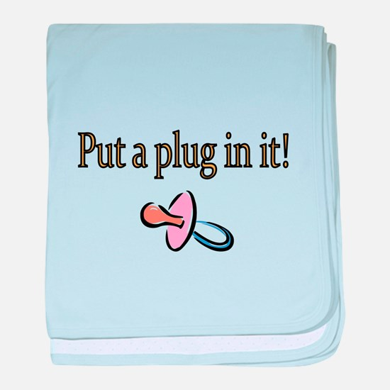 Put a plug in it-brown baby blanket