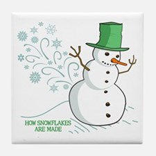 Funny Snowman Snowflakes Illustration Tile Coaster