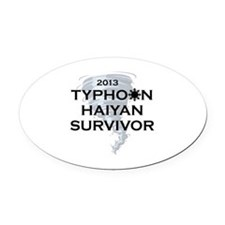 Typhoon Haiyan Survivor Oval Car Magnet