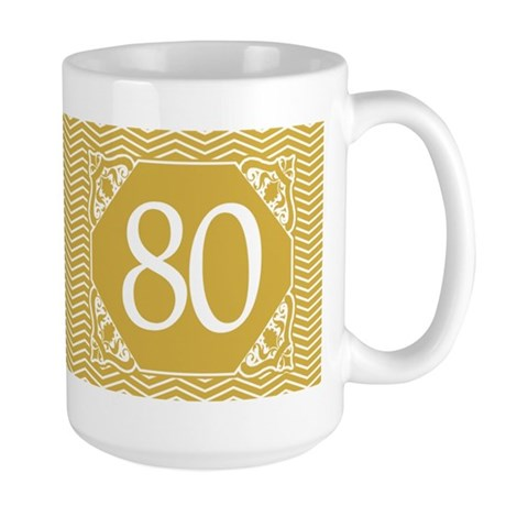 80th Birthday (Chevron) Large Mug