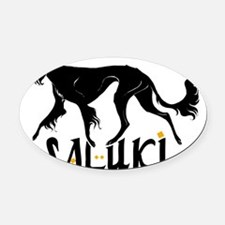 Saluki-sillo-Black Oval Car Magnet