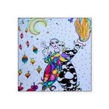 "Colorful Jester Square Sticker 3"" x 3"""