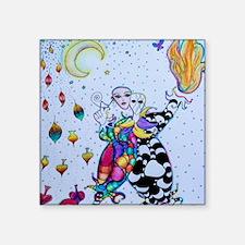 """Colorful Jester Square Sticker 3"""" x 3"""""""