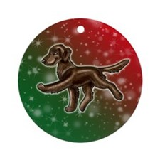 Liver Flat Coated Retriever Ornament (round)