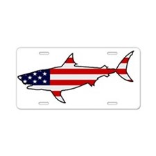 Patriotic Shark Aluminum License Plate