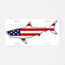 Patriotic Shark Aluminum License Plate