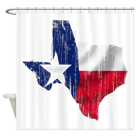 Texas Shape Flag Distressed Shower Curtain By Youlikethisshop