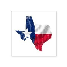 "Texas Shape Flag Distressed Square Sticker 3"" x 3"""