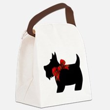 Scottie dog with bow Canvas Lunch Bag