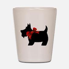 Scottie dog with bow Shot Glass