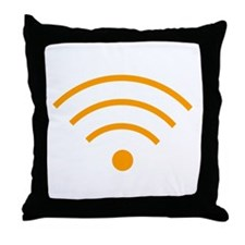 Orange Wi-Fi Signal Throw Pillow