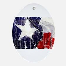 Texas Waving Flag Ornament (Oval)