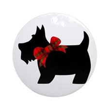Scottie dog with bow Ornament (Round)