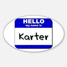 hello my name is karter Oval Decal