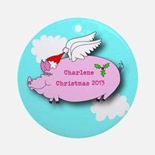 Personalized Flying Pig Christmas Ornament
