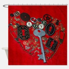 Red Steampunk Heart Shower Curtain