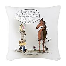 Horse Health Turnout Fun Woven Throw Pillow