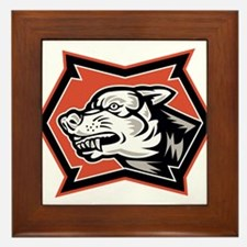 Angry Wolf Wild Dog Retro Framed Tile