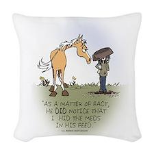 Horse Health - Hidden Meds Woven Throw Pillow