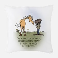 Horse Health - Hidden Meds Woven Throw Pillow