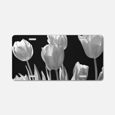 Black and White Tulips Aluminum License Plate