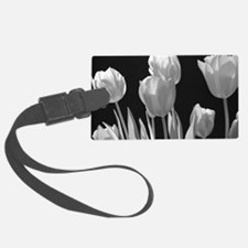 Black and White Tulips Luggage Tag