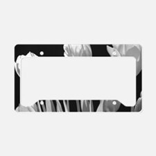 Black and White Tulips License Plate Holder