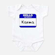 hello my name is karma  Infant Bodysuit