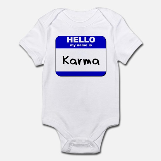 hello my name is karma  Infant Bodysuit