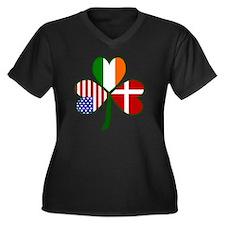Danish Shamr Women's Plus Size Dark V-Neck T-Shirt