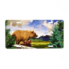 Three Grizzlies in Montana Aluminum License Plate