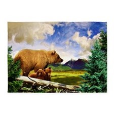 Three Grizzlies in Montana 5'x7'Area Rug