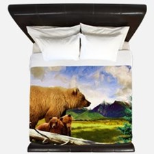 Three Grizzlies in Montana King Duvet