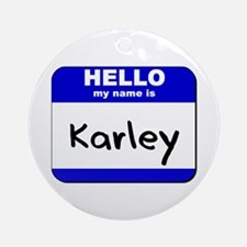 hello my name is karley  Ornament (Round)
