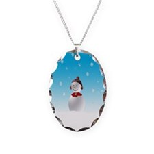 Cheerful Snowman In Winter Necklace