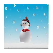 Cheerful Snowman In Winter Tile Coaster