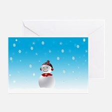 Cheerful Snowman In Winter Greeting Card