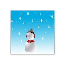 """Cheerful Snowman In Winter Square Sticker 3"""" x 3"""""""