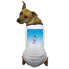 Cheerful Snowman In Winter Dog T-Shirt