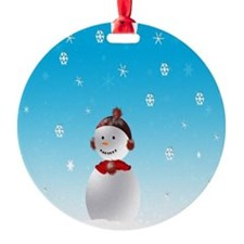 Cheerful Snowman In Winter Ornament
