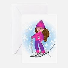Ski Girl (brunette) Greeting Cards (Pk of 10)