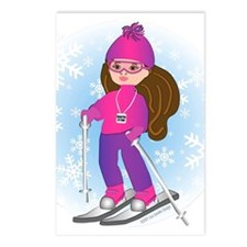 Ski Girl (brunette) Postcards (Package of 8)