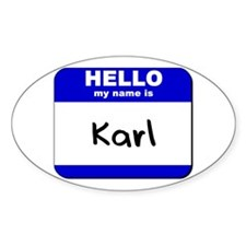 hello my name is karl Oval Decal