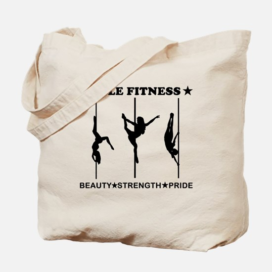 Pole Fitness Beauty Strength Pride Black Tote Bag