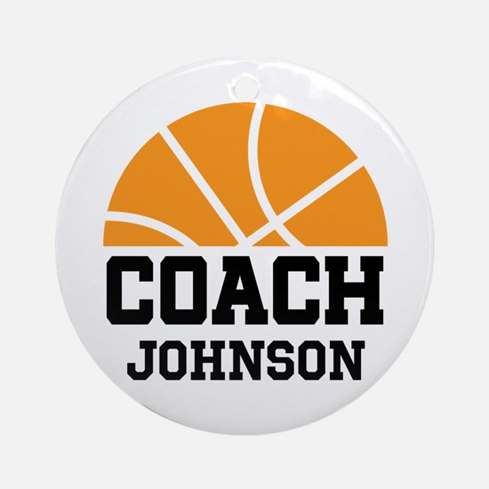 Personalized Basketball Coach Gift Ornament (Round