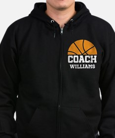Basketball Personalized Coach Name Zip Hoodie