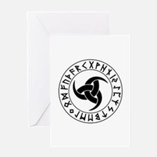 Odin Horn Shield Greeting Cards