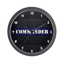Police Commander Diamond Plate Wall Clock